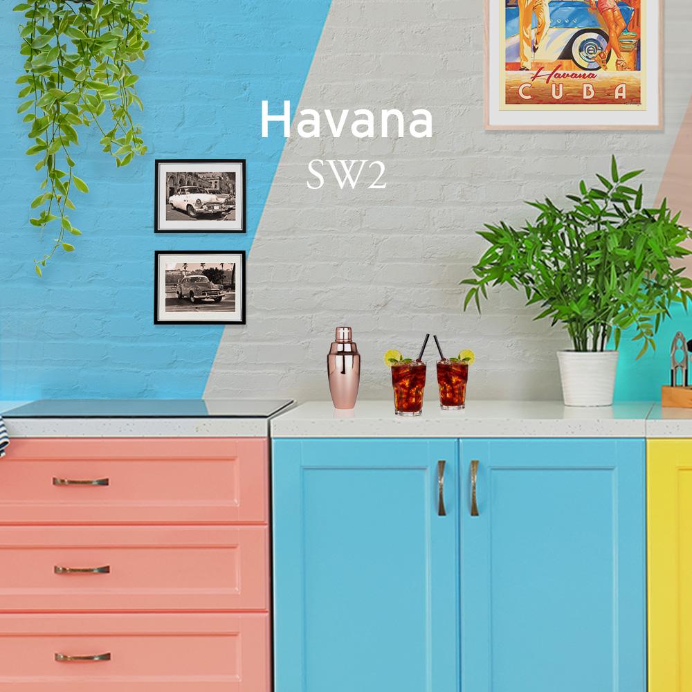brightly coloured kitchen