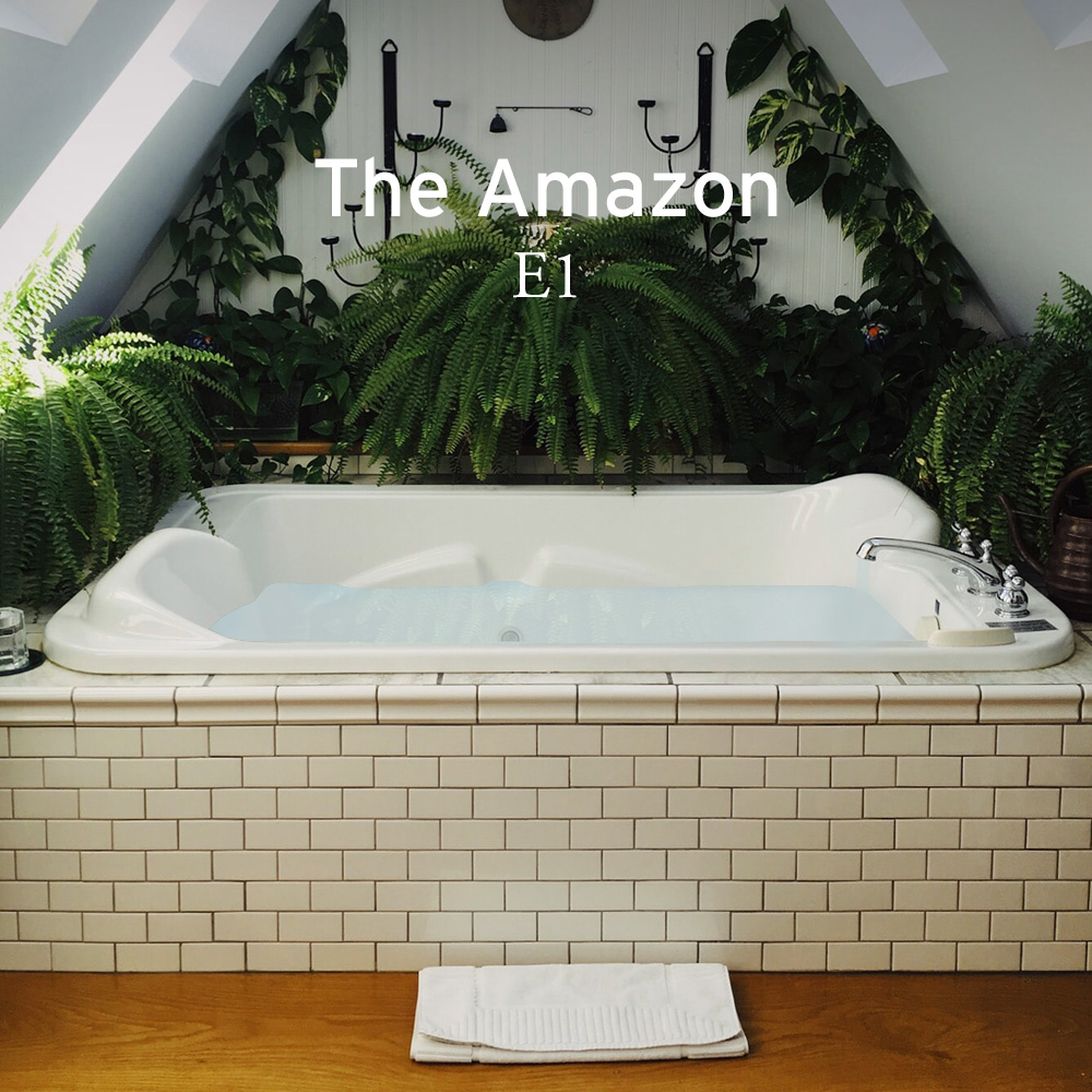 Amazon rainforest above a bathtub with lots of plants