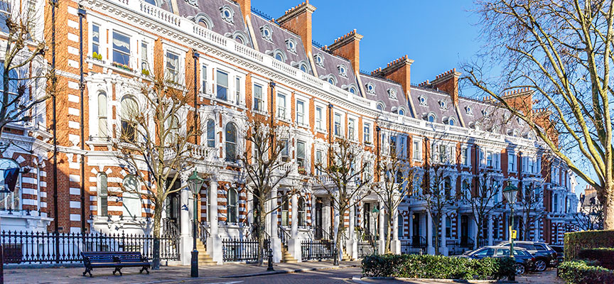 Row of properties in Kensington